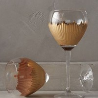 Imperial Caviar Red Wine Glasses by Anthropologie in Gold Size: S/2 Red Wine Glasses