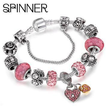 SPINNER Heart Love Dangle Charm Bracelet for Women With Crystal Ball fit Snake Chain P