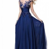 Babyonline Blue Long Prom Lace Dresses Evening Gowns with Sequins