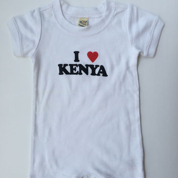 I Love Kenya Unisex Infants Scoop Neck Short Sleeve Romper