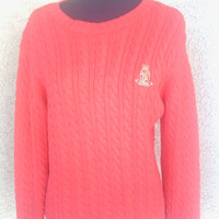 Bright Red Ralph Lauren Chunky Sweater for women medium/large long sleeve/ crew neck/ cable knit