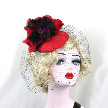 Women's Hat, Red Fascinator, Red Hat, Cocktail Hat, Birdcage Veil, Red and Black, Black Veil, Blusher Veil, Wedding Veil, Unique Bridal