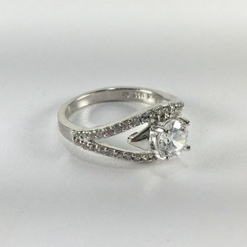 Cubic Zirconia Engagement Ring, Sterling Silver, Round Solitaire, Tapered Wide Band, Promise Ring, Wedding Jewelry, Bridal Jewelry