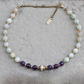 "Amethyst and Amazonite ""Communication and Healing"" Mala Choker"