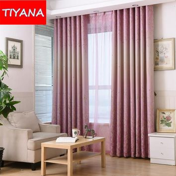New Style Window Blackout Pink Curtains For Bedroom Floral Tulle Curtains Fabric For Living Room Blind Custom Made Cortina A1642
