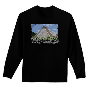 Mexico - Mayan Temple Cut-out Adult Long Sleeve Dark T-Shirt
