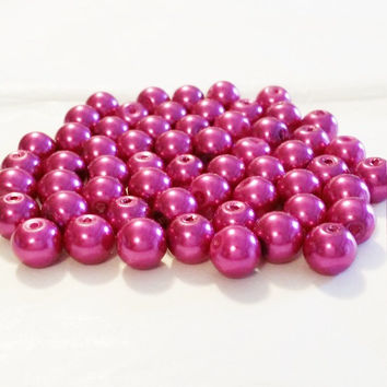 "Pink Pearls, 8mm Glass Beads, Fuchsia 8mm Round Glass Pearl Bead, 8mm Beads, 55 Pearls, Round Beads, Pearl Beads, 16"" Strand of Pearls"