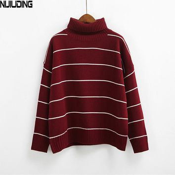 NIJIUDING 2017 New Arrival Women Casual Pullovers Sweaters Knitted Sweater Autumn Loose Striped Turtleneck Sweaters 6 Colors