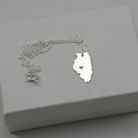 Sterling Silver State Love Heart Necklace - Illinois