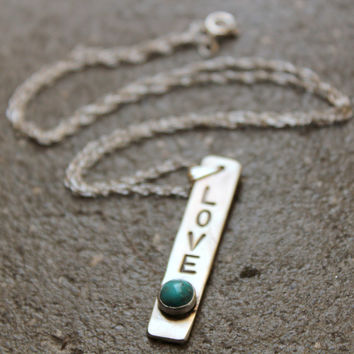 Sterling Love Pendant Necklace with 6mm Gemstone