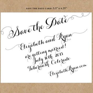 Handwritten Cursive on Slant Black and White Save the Date