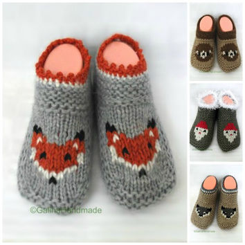 Knit Baby Shoes , Baby Booties,  Knit Baby Slippers , Toddler Shoes, Baby Gift, Animal Child Baby  Slippers Grey Angora, Booties Fox
