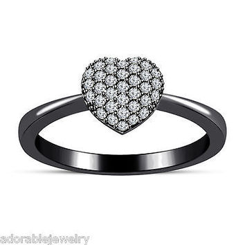 White Diamond Black Gold Plated .925 Sterling Cluster Heart Ring in All Sizes