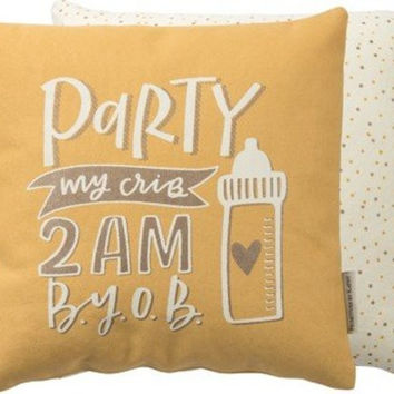 Party In My Crib Yellow Throw Pillow