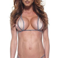 Solid Nude Sexy Mini Teardrop Bikini 2pc Top Micro G-String w/ Silver String