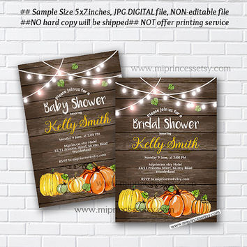 Pumpkin rustic Bridal Shower OR Baby Shower , Bridal, baby invitation,  Autumn  wedding newbaby Invitation - card 997
