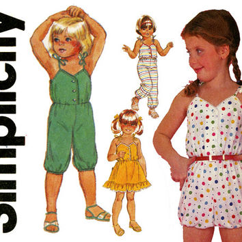 Girls Jumpsuit Pattern Uncut Breast 22 23 24 Simplicity 5951 Sundress Romper Bubble Suit Sunsuit 1980s Childrens Vintage Sewing Patterns
