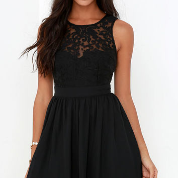 Truth and Fiction Black Lace Skater Dress