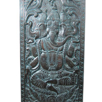 Antique Carving Indian Wall Panel ganesha Door Panels Yoga 3 faced ganesh 72x36in