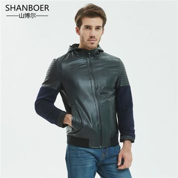 Newest Motorcycle Leather Jackets Men Solid Business Casual Coats Autumn Winter Leather Clothing Bomber Jacket for Male
