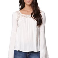 LA Hearts Bell Sleeved Lace Shirt - Womens Shirts - White