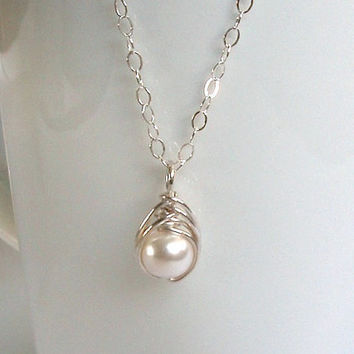 Small Sterling Silver Pendant, Swarovski White Pearl Dainty Pendant, Wire Wrapped Pearl Necklace, Wire Wrapped Jewelry Handmade