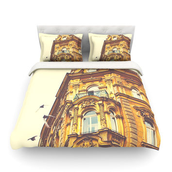 "Ann Barnes ""Prague Morning"" Gold Building Cotton Duvet"