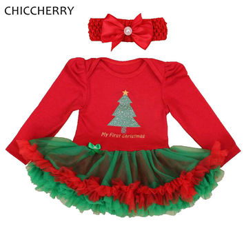 My First Christmas Costumes for Kids Clothes Long Sleeve Baby Girl Dress Headband Lace Tutu Girls Christmas Outfits Boutique