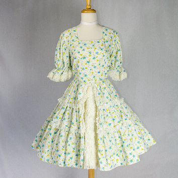 Vintage Can-Can Circle Skirt Dance Dress Lolita Coquette