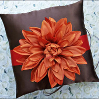 Wedding Ring Pillow, Persimmon and Chocolate Brown Ring Bearer Pillow