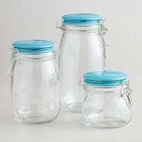 Aqua Lidded Glass Canister