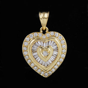 Beautiful 1cttw Baguette and Round Diamond Heart Pendant in 14K Yellow Gold