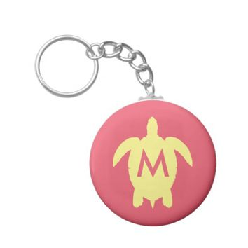 Yellow and Pink Summer Sea Turtle Monogram Basic Round Button Keychain