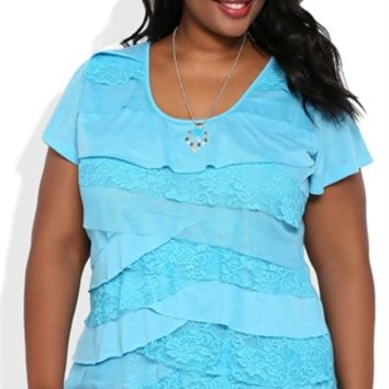 Plus Size Flutter Sleeve Top with Ruffle Front