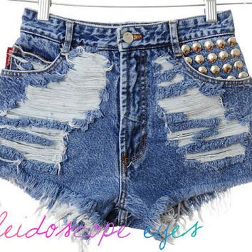 Vintage Bongo TRASHED Denim Destroyed STUDDED High Waist Cut Off Shorts XS