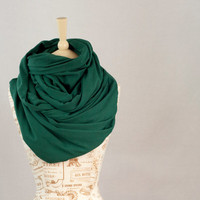 Large Cowl Infinity Scarf, Hooded Cowl Scarf, Emerald Hunter GreenCircle Scarf, Extra Large Jersey Circle Shawl Scarf, Large Scarves