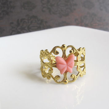 Lolita Victorian Style Pink Butterfly Cabochon on Raw Brass Lace Filigree Bridal Wedding Ring. Kawaii Cute Simple Everyday Jewelry