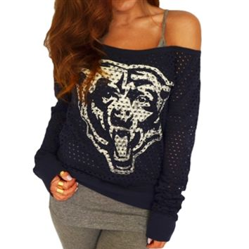 Chicago Bears Off Shoulder Jersey Top | SportyThreads.com