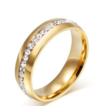 No Fade 2017 NEW Fashion Female Engraving Style Unique Ring Titanium Steel Rings for Women Row Crystal Jewelry Drop Shipping