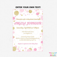 Pink and Gold Baby Shower Invitation, Editable Baby Shower Invite Girl, Pink and Gold Baby Shower Invite, Printable Invitation, CB0003-pg