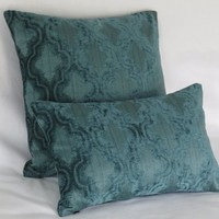 """Teal Blue Chenille Pillow Cover, 17"""" Square, Textured Ogee Pattern, Soft and Velvety"""