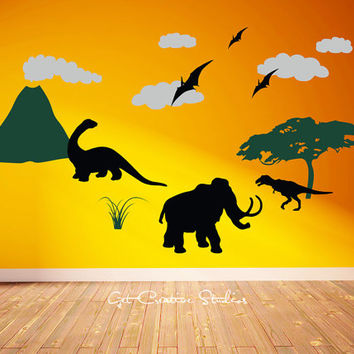 Dinosaur World Wall Decal Mural Stickers Volcano Pterodactyl Brontosaurus Mammoth T-Rex Jurassic Park Movie Ancient Tree Earth Clouds Plant