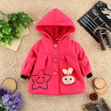 2016  children clothing baby girl hooded coat kids girls outer garment wear over coat with bunny  & smile face print  jacket