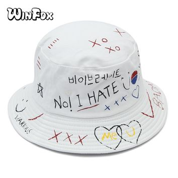 Winfox New Korea Fashion Summer Hip Hop Black White Graffiti Gorro Pescador Caps Boonie Bucket Hats For Womens Mens