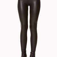 Coated Faux Leather Leggings - Black- FINAL SALE