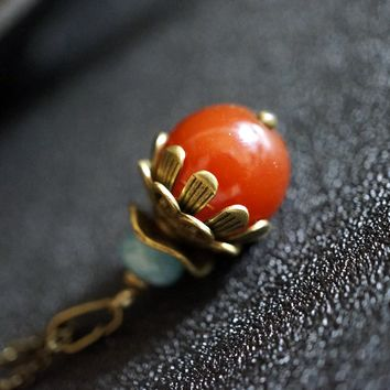 Red Carnelian Necklace - Natural Red Stone Pendant  Bronze Ball Moden Antique Jewelry
