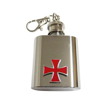 Red Cross 1 Oz. Stainless Steel Key Chain Flask