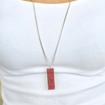 Five Row Rhinestone Rectangle Long Necklace