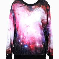 Pink Galaxy Printed Sweatshirt