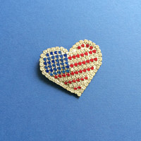 Vintage Rhinestone Heart Flag Pin